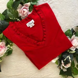 Chaus Red Vneck Sweater Size L